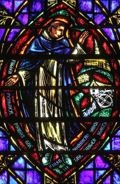 Stained glass commemorating Fenwick, the founder of the first Dominican Friars in the United States, in St. Vincent Ferrer's church, NYC.