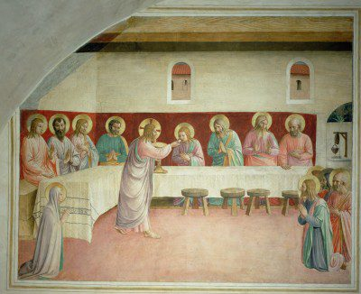 The Last Supper, 1442 (fresco) by Angelico, Fra (Guido di Pietro) (c.1387-1455); Museo di San Marco dell'Angelico, Florence, Italy