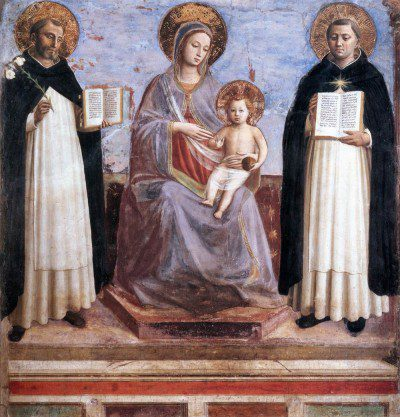 c. 1445 Detached fresco transferred to canvas, 196 x 184 cm The Hermitage, St. Petersburg This fresco comes from the monastery of San Domenico da Fiesole, where Fra Angelico, a Dominican friar, was prior. After the monastery was closed in the 19th century this fresco was removed and sold. Originally the fresco was located at the top of the stairs leading to the dormitory.