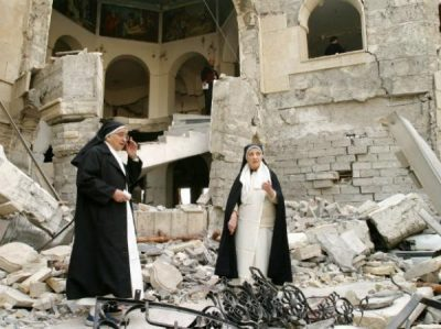 Nuns in rubble