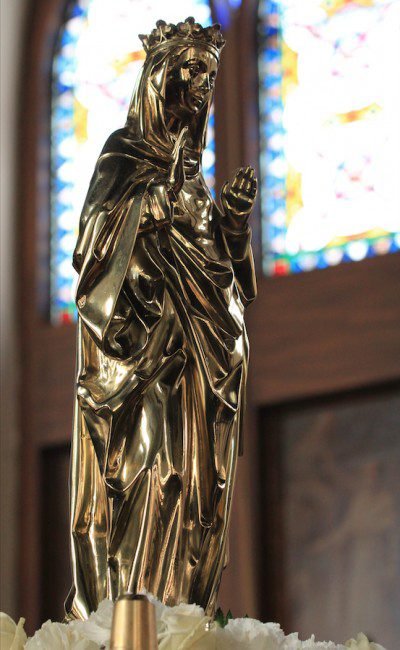 This statue of Our Lady stands in the chapel of the Dominican House of Studies in Washington, D.C. Photo: Fr. Lawrence Lew, O.P.