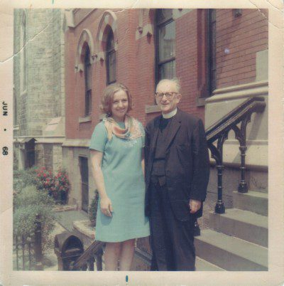 Fr. Norbert Georges, O.P. and his niece Margaret Daze, in front of St. Vincent Ferrer Priory, New York City (June 1968)