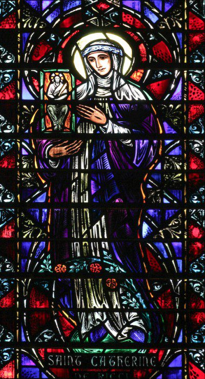 Satined Glass Window of St. Catherine di Ricci at St. Vincent Ferrer Church, NYC Photo: Fr. Lawrence Lew, O.P.