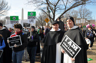 Br. Pier Giorgio Dengler, O.P. (right), at the 2015 March for Life