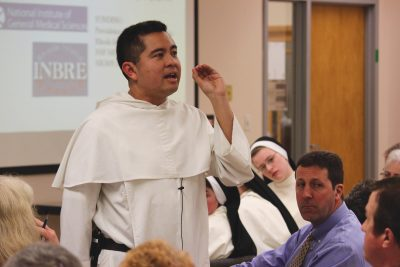 Fr. Nicanor Austriaco, O.P., speaking at Aquinas College in Nashville, Tennessee.